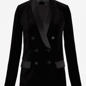 Pitch-Black-Velvet-Blazer-For-Women