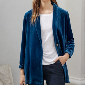 Womens Peacock Blue Velvet Jacket