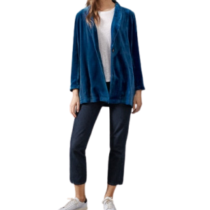 Peacock Blue Velvet Womens Jacket