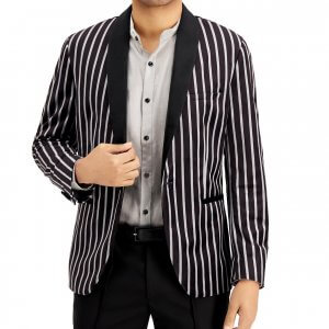 Black and White Velvet Blazer For Men