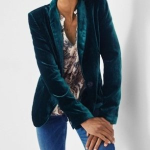 Womens Green Velvet Jacket