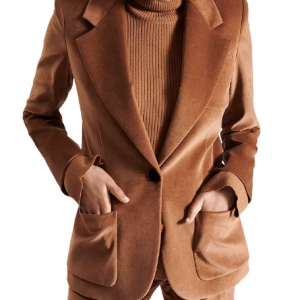 camel velvet blazer for womens