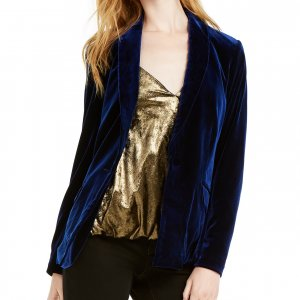 dark blue velvet blazer for women
