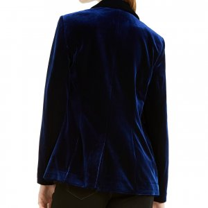 womens dark blue velvet blazer