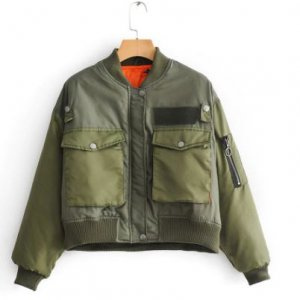 Army-Green-Women-Aviator-Bomber-Jacket-Warm-Jacket