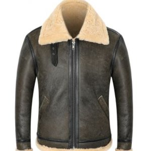B-3-Genuine-Leather-Shearling-Mens-Pilot-Aviator-Bomber-Jacket