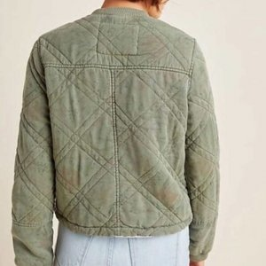 Behind Her Eyes Louise Quilted Bomber Green Jacket