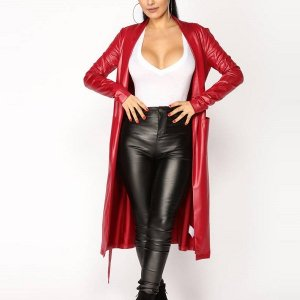 Singer-Ariana-Grande-Red-Leather-Coat