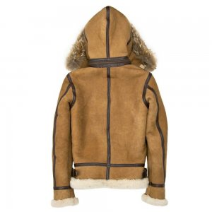 Women Hooded B-3 Suede Tan Bomber Style Jacket