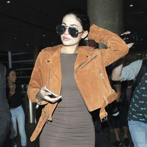 Kylie Jenner Slim-Fit Brown Genuine Double Rider Suede Leather Jacket